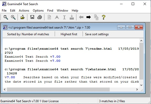Click to view Examine64 Text Search 5.03 screenshot